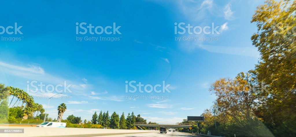Traffic on a sunny day in Los Angeles stock photo