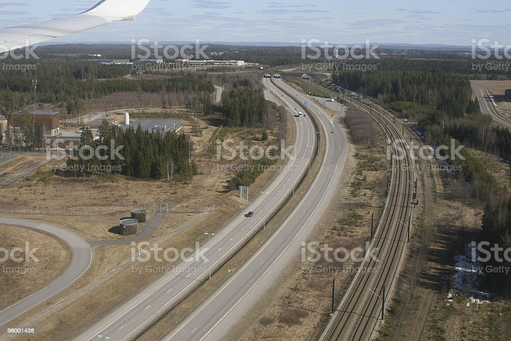 Traffic on air and the ground royalty-free stock photo