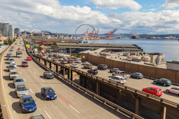 Traffic on Alaskan Way in Seattle, Washington, USA stock photo
