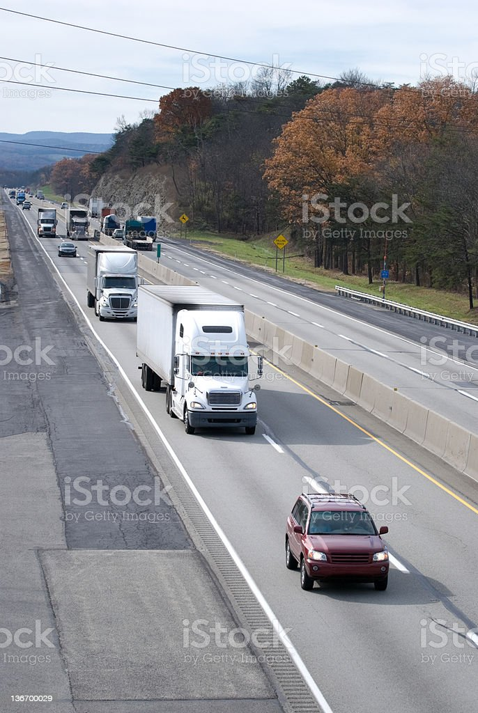 Traffic on an American Interstate Highway, Pennsylvania Turnpike royalty-free stock photo