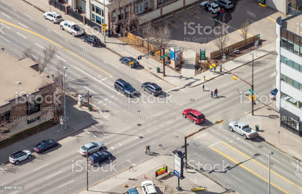 Traffic on an intersection in Calgary stock photo