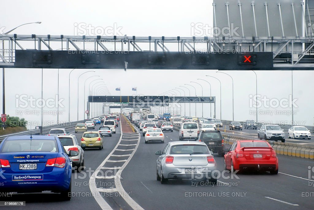 Traffic on Auckland Harbour Bridge, New Zealand stock photo