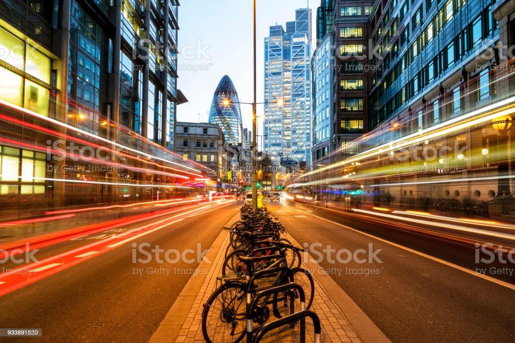 Traffic on Bishopsgate Street at Dusk, London, UK stock photo