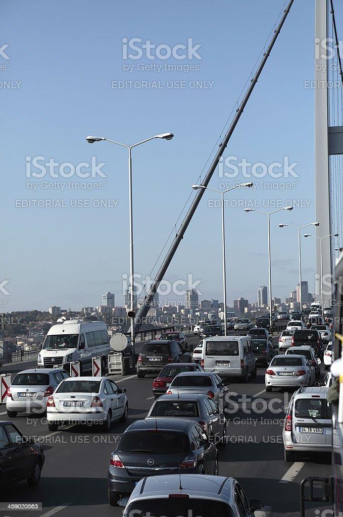 Traffic on Bosphorus Bridge royalty-free stock photo