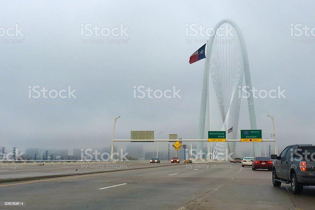Traffic on bridge into Dallas stock photo