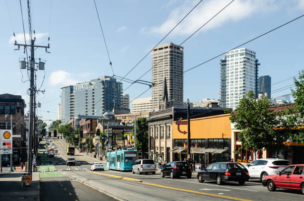 Traffic on Broadway street in Seattle, Washington, USA on the 4th August 2018 stock photo