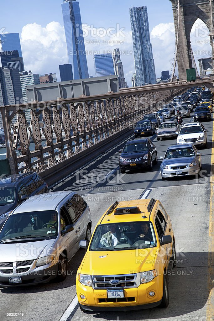 Traffic on Brooklyn bridge in New York City royalty-free stock photo