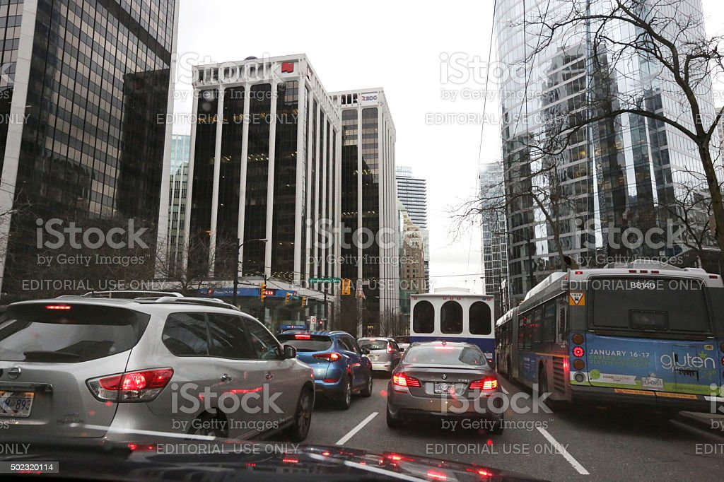 Traffic on Burrard Street, Central Business District, Vancouver, Canada stock photo