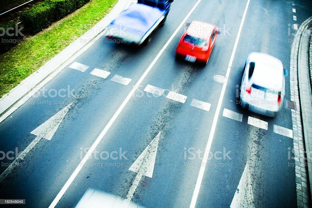 Traffic on city street royalty-free stock photo