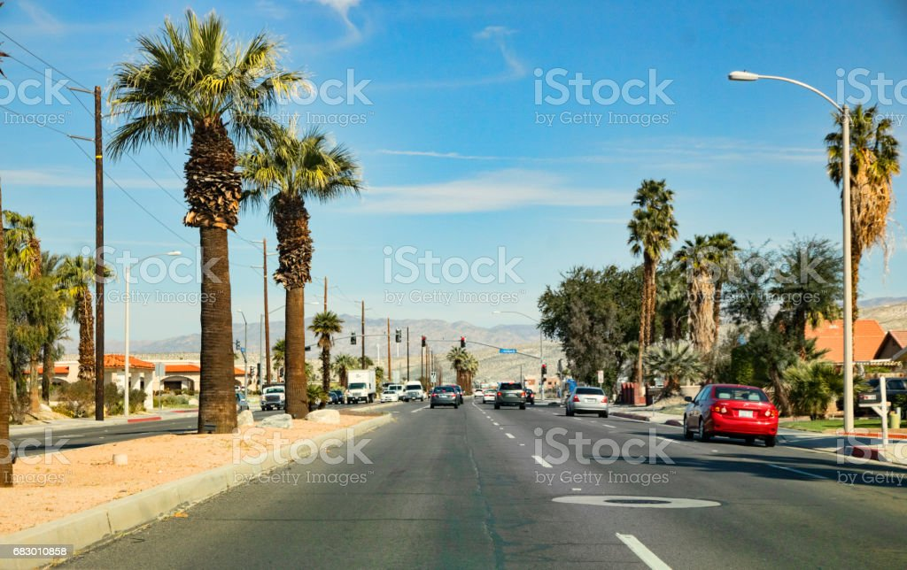 Traffic on Date Palm Drive in Cathedral City, California royalty-free stock photo