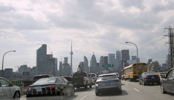 Traffic on Gardiner Expressway, Toronto stock photo