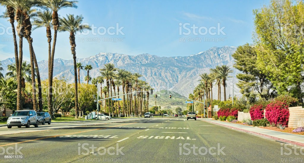 Traffic on Gerlad Ford Drive in Rancho Mirage California royalty-free stock photo