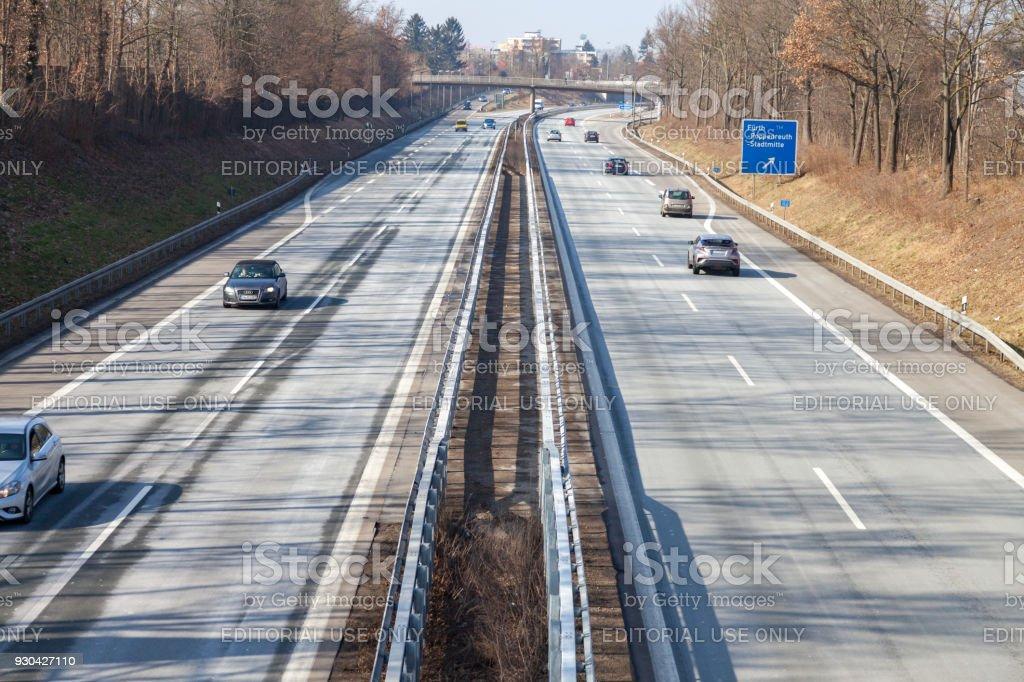 traffic on german highway 73 near fuerth, germany stock photo