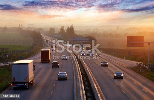 istock Traffic on highway with cars. 513106144