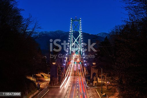 Traffic on Lion's Gate Bridge in Stanley Park Vancouver