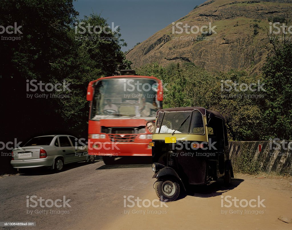 Traffic on mountain road royalty-free stock photo