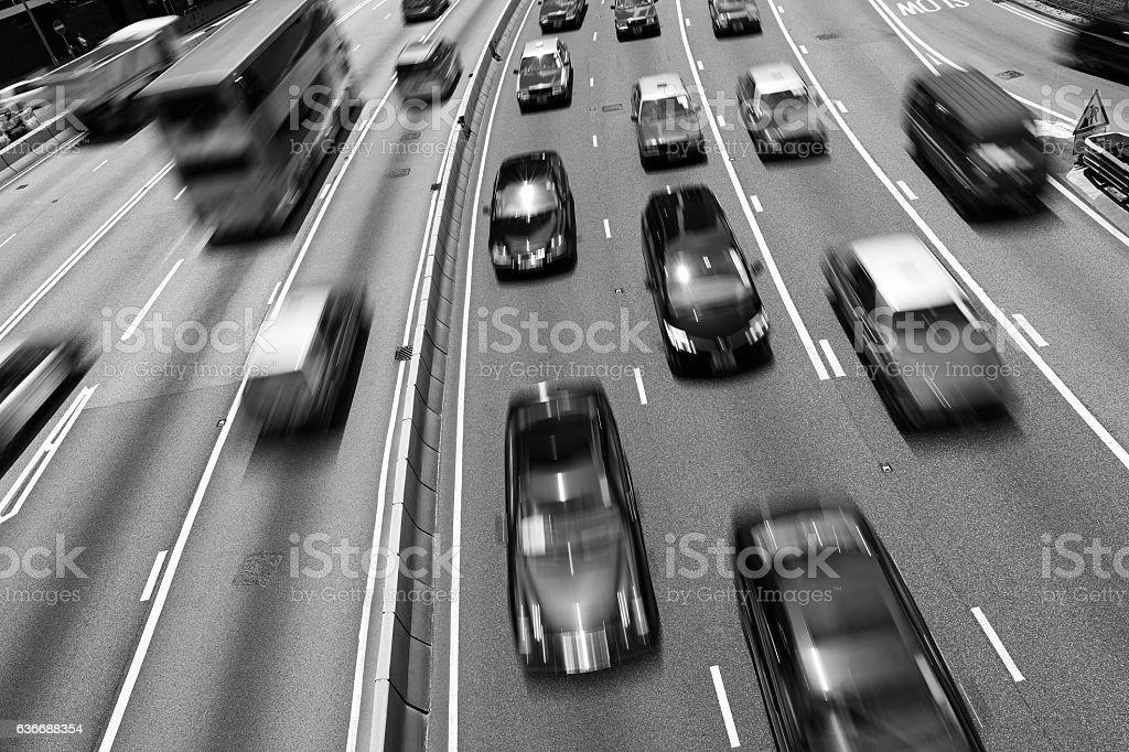 Traffic on multiple lane highway with motion blur (Black&White) stock photo