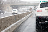 Traffic on New Jersey highway in inclement weather