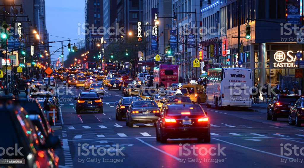Traffic on New York, USA stock photo