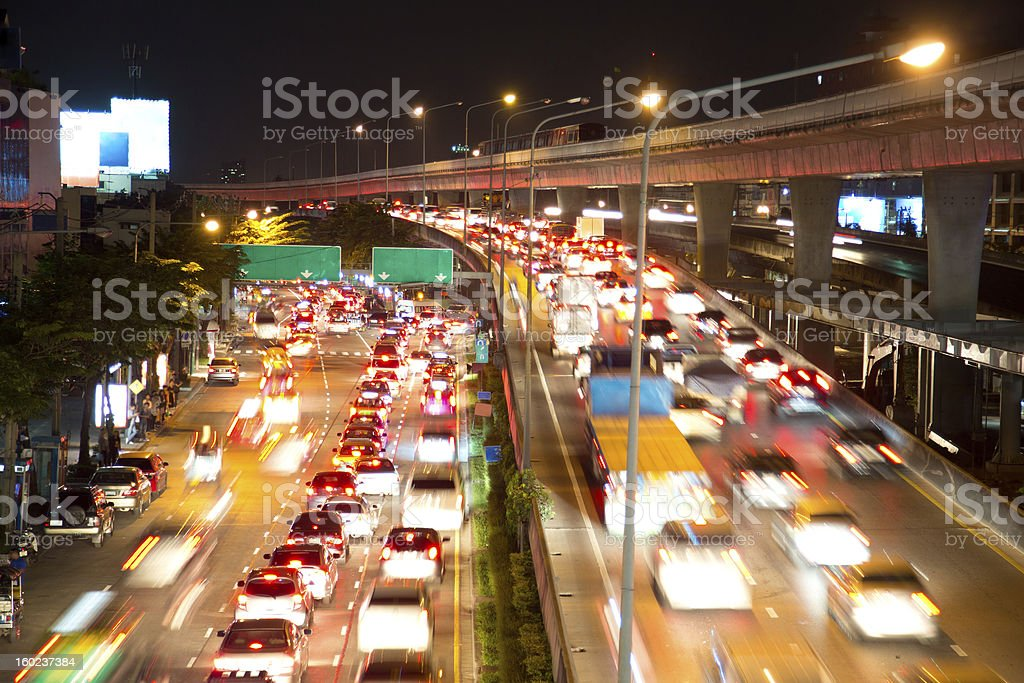 traffic on night road royalty-free stock photo