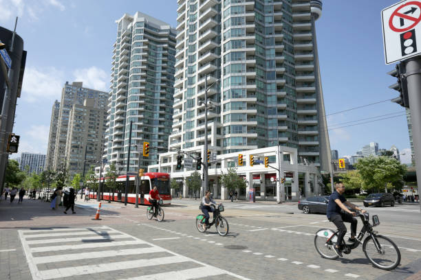 Traffic on Queens Quay West, Toronto, Ontario stock photo