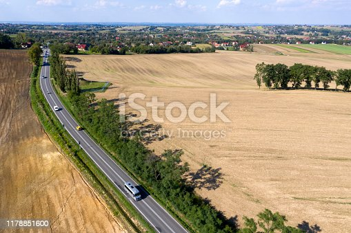 istock Traffic on Rural Road, Aerial view 1178851600