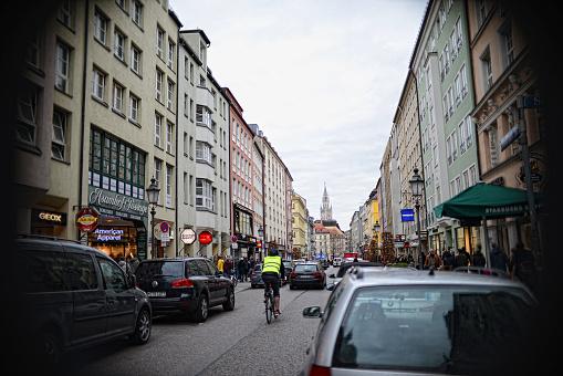 Traffic on Sendlinger Road next to Marienplatz of Munich