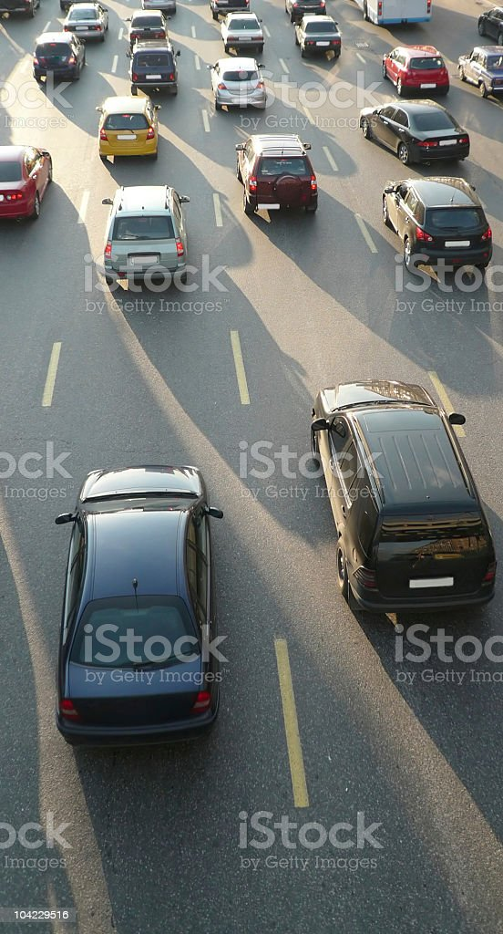 traffic on street repair at day royalty-free stock photo