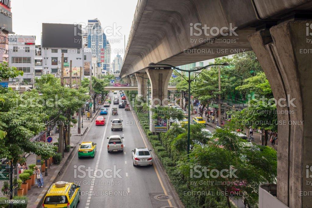 Traffic On Sukhumvit Road In Bangkok, Thailand stock photo