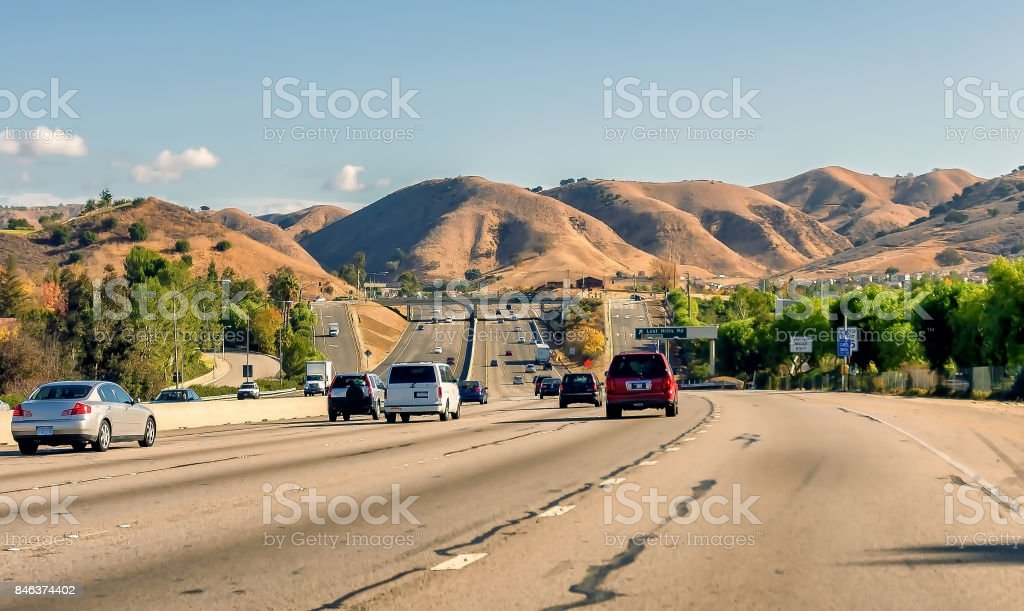 Traffic on the 101 Ventura Freeway in Southern California stock photo