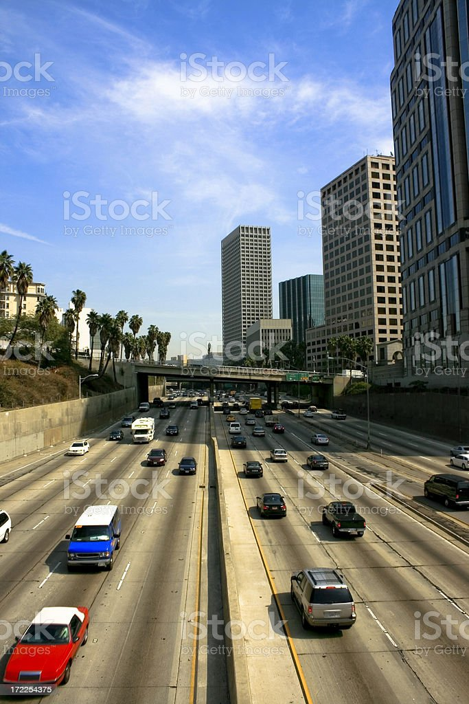 Traffic on the 110 Freeway Going Through Downtown Los Angeles royalty-free stock photo