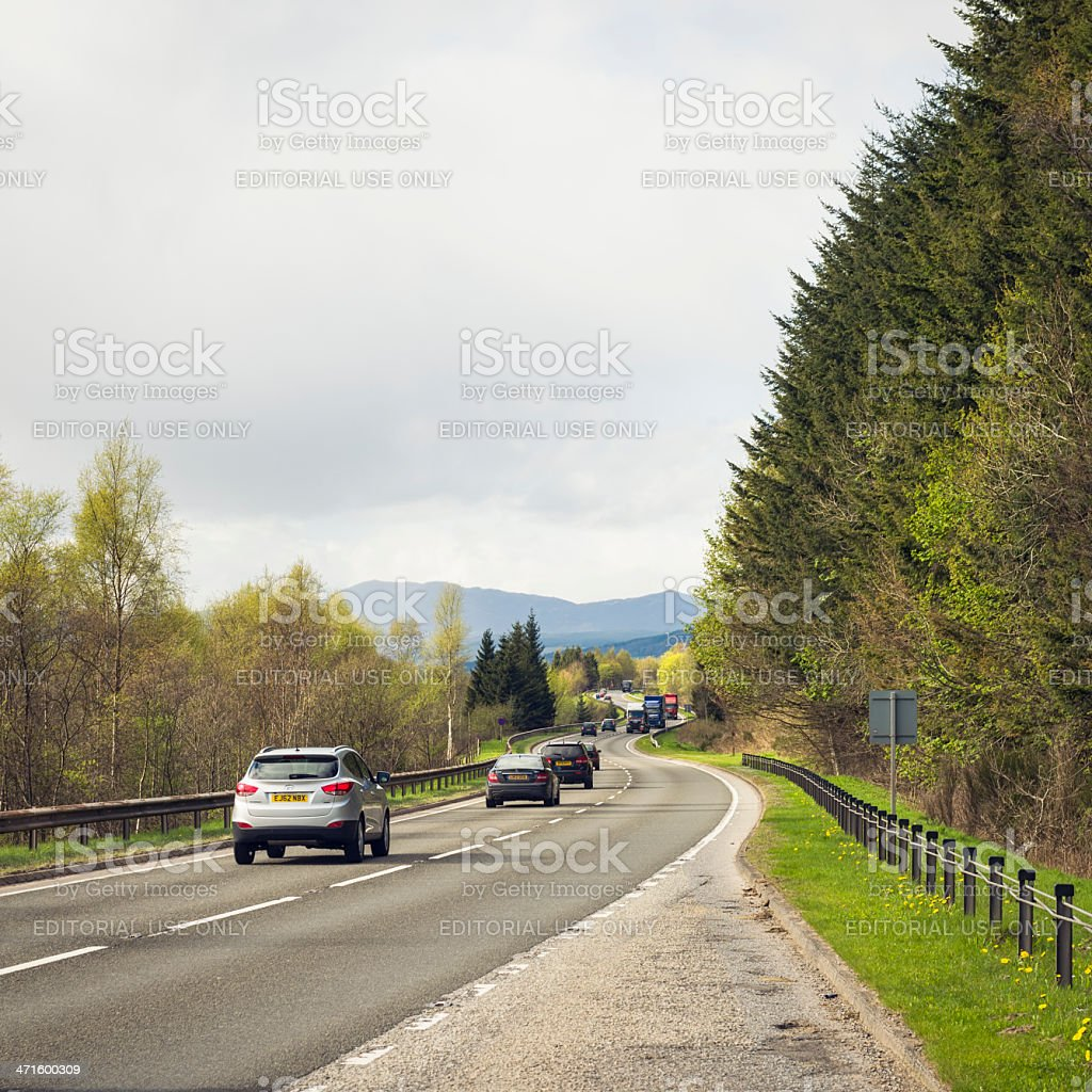 Traffic on the A9 in Scotland's Highlands stock photo