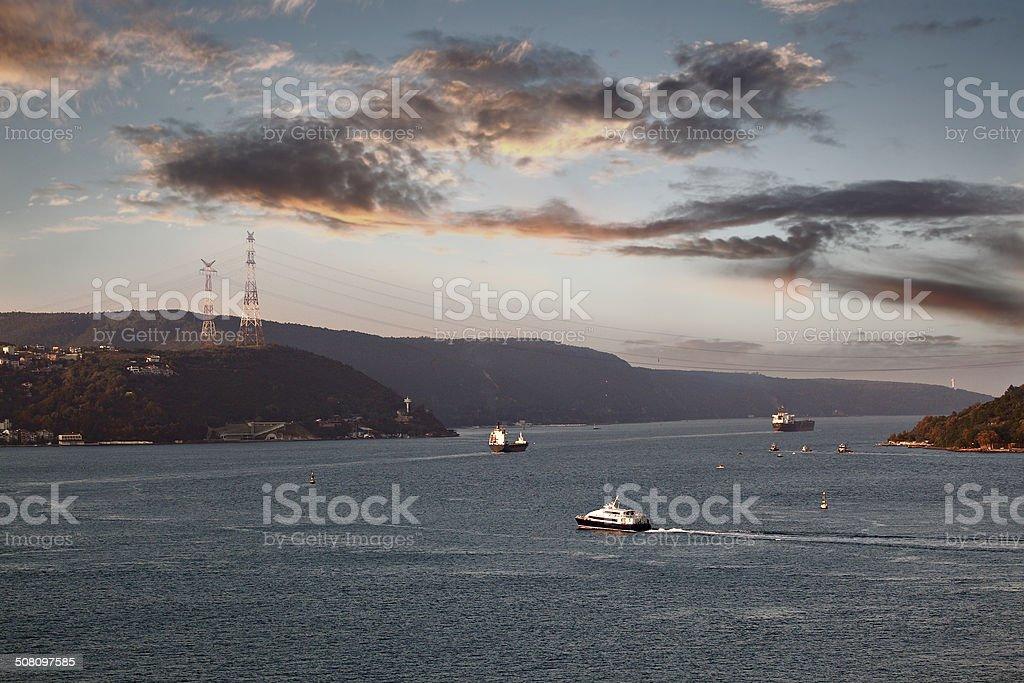 Traffic on the Bosphorus stock photo