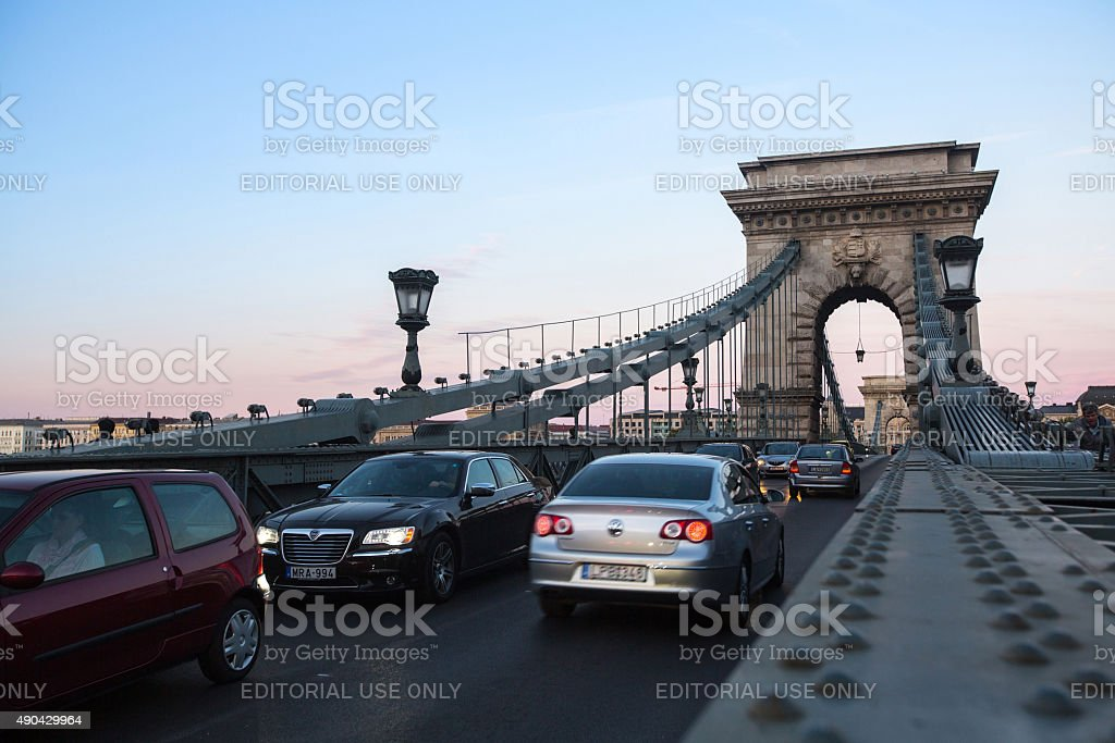 Traffic on the Chain Bridge in Budapest. stock photo