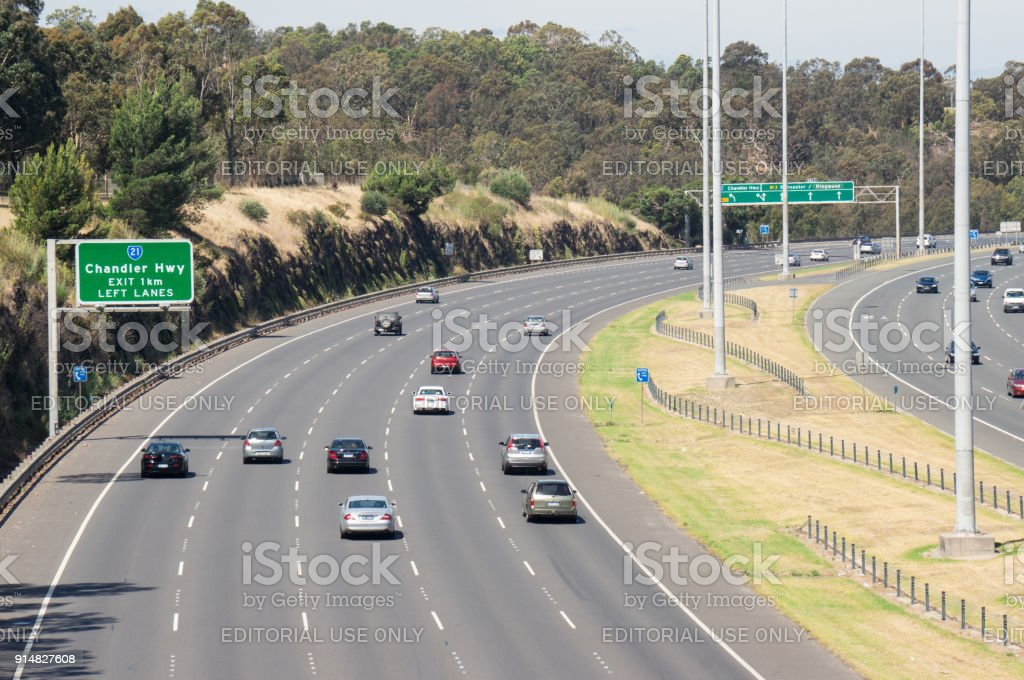 Traffic on the Eastern Freeway approaching the Chandler Highway exit. stock photo