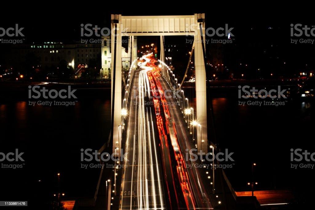 Traffic on the Elisabeth Bridge at night. stock photo