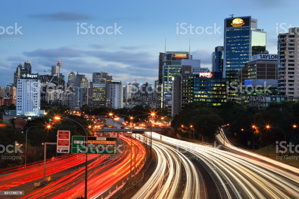 Traffic on the expressway into and out of Sydney  Australia stock photo