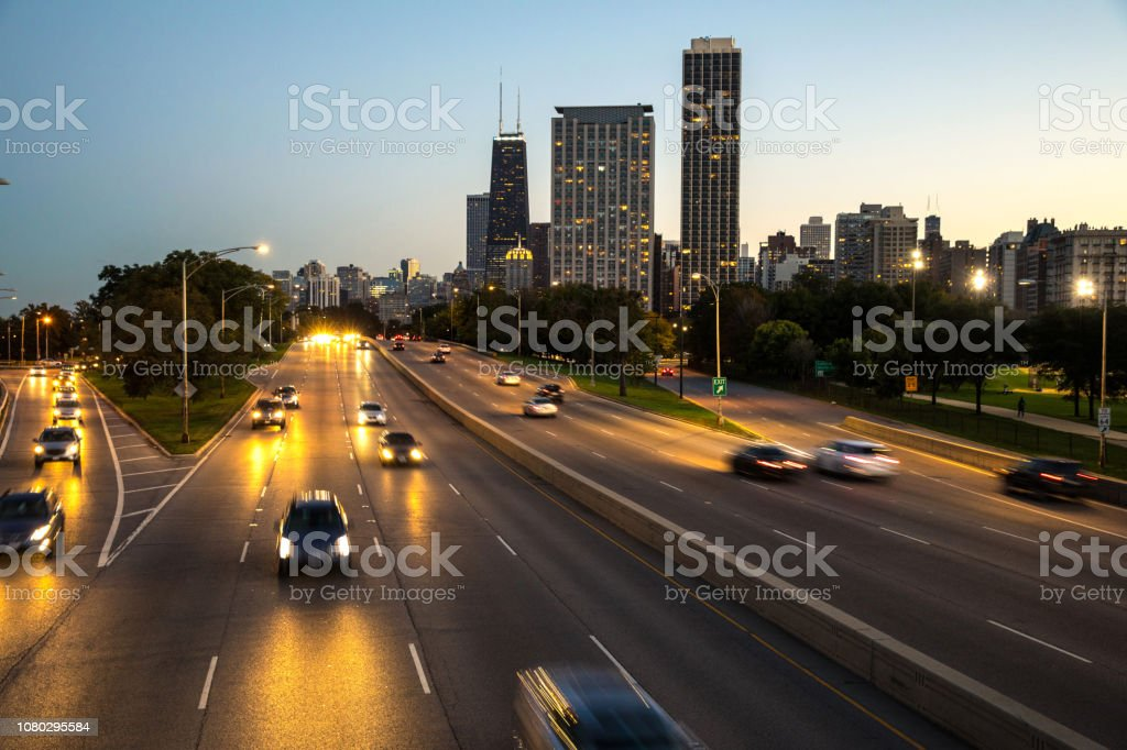 Traffic on the freeway in Chicago stock photo