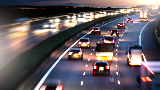 Traffic on the germany freeway a1 at night stock photo