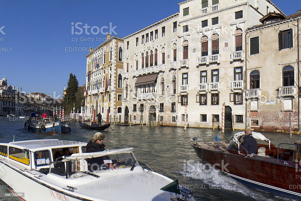 Traffic on the Grand Canal of Venice. royalty-free stock photo