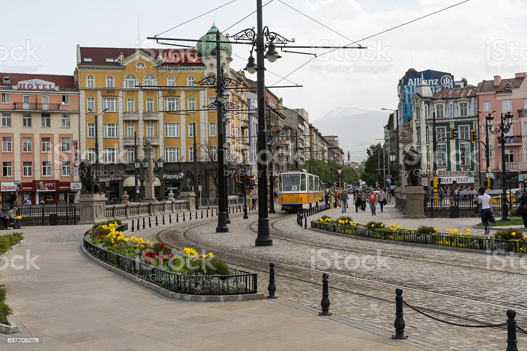 Traffic on the lions bridge in the center of Sofia. stock photo