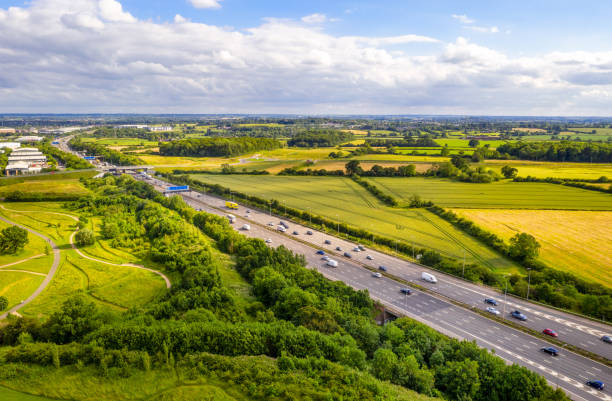 Traffic on the M1 Motorway in England stock photo