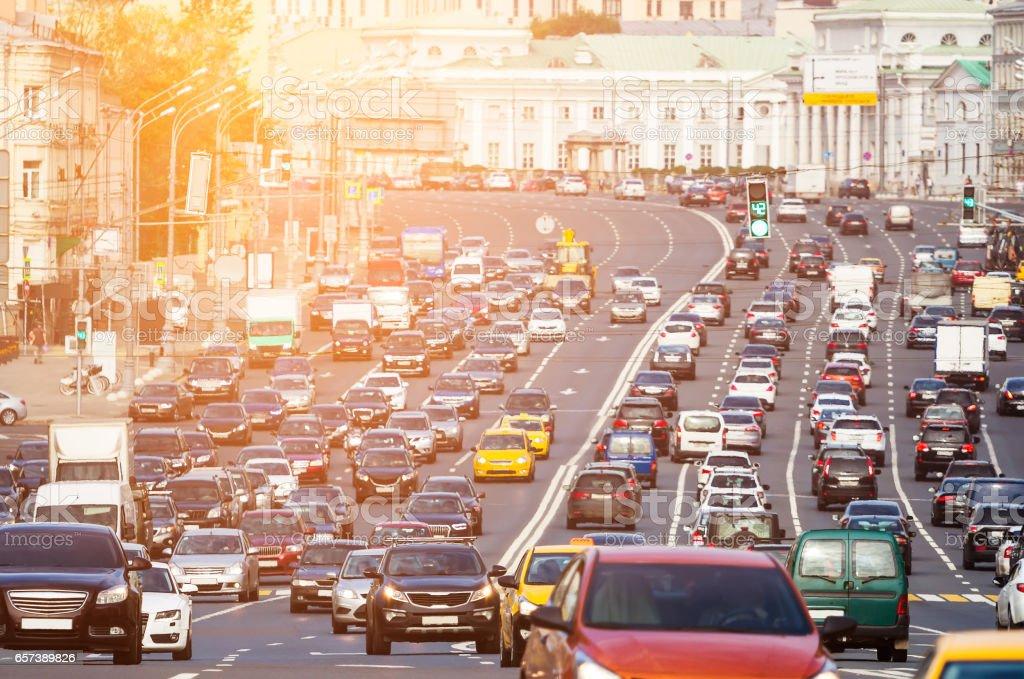 Traffic on the multilane street stock photo