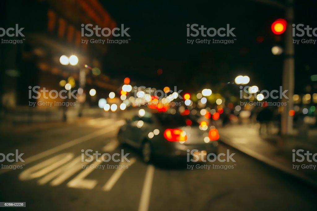 traffic on the night city street stock photo