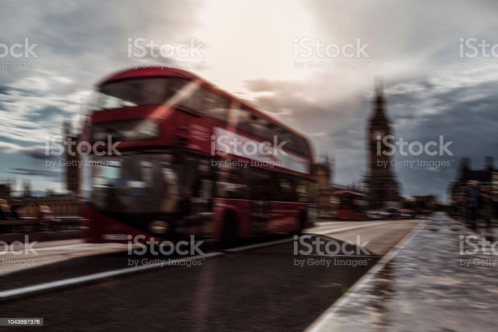 Traffic on the Westminster bridge, London stock photo