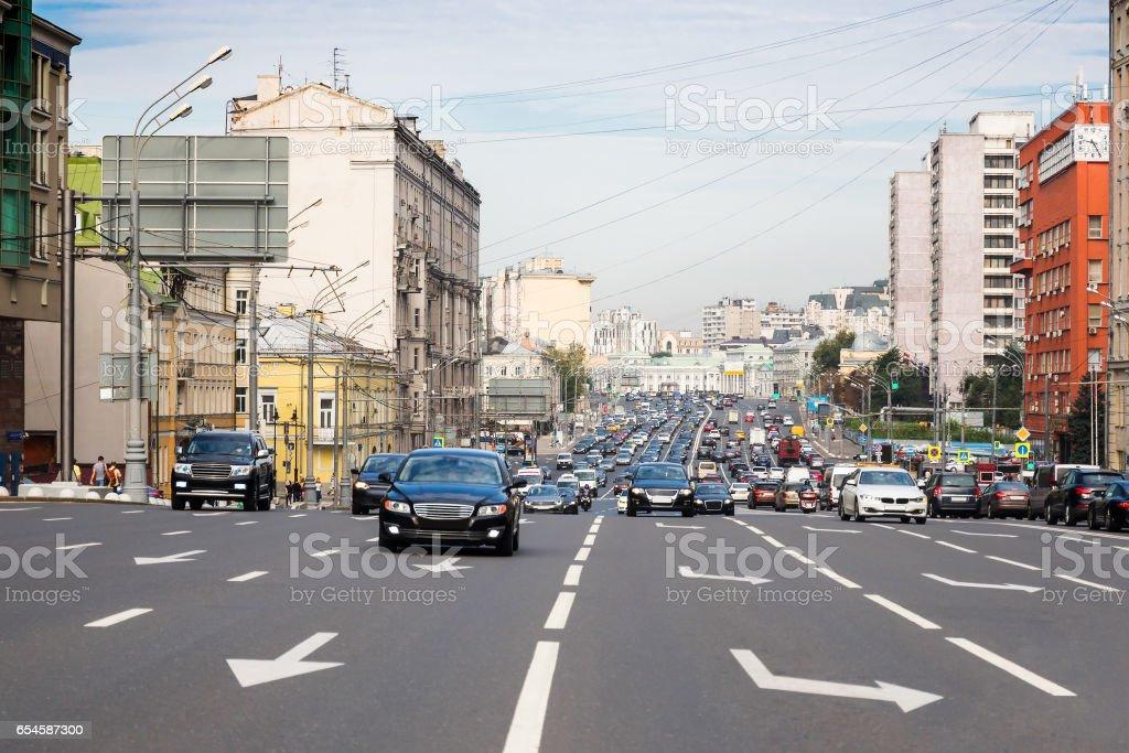 Traffic on the wide multilane street stock photo