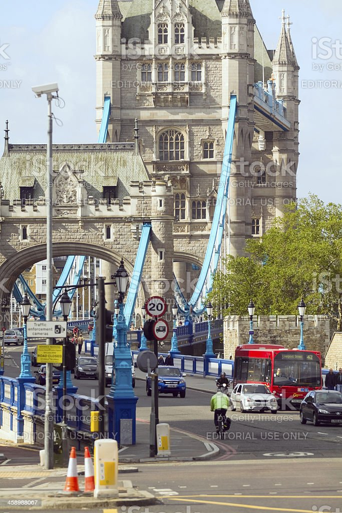 Traffic on Tower Bridge royalty-free stock photo