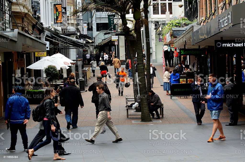 Traffic on Vulcan Lane in Auckland downtown, New Zealand stock photo