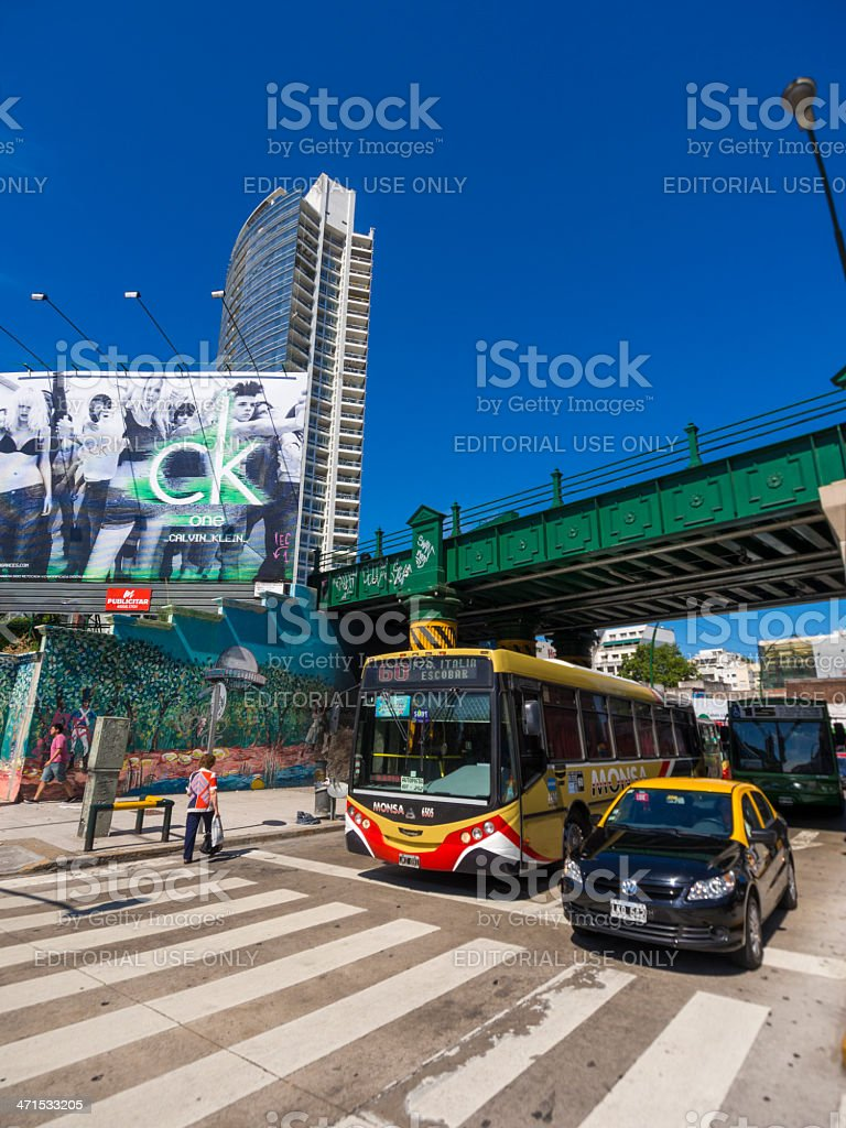 Traffic passing under bridge in Palermo Buenos Aires, Argentina royalty-free stock photo