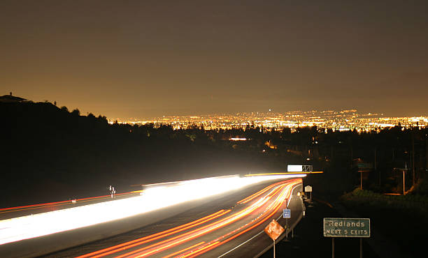 Traffic Blur of car lights redlands california stock pictures, royalty-free photos & images